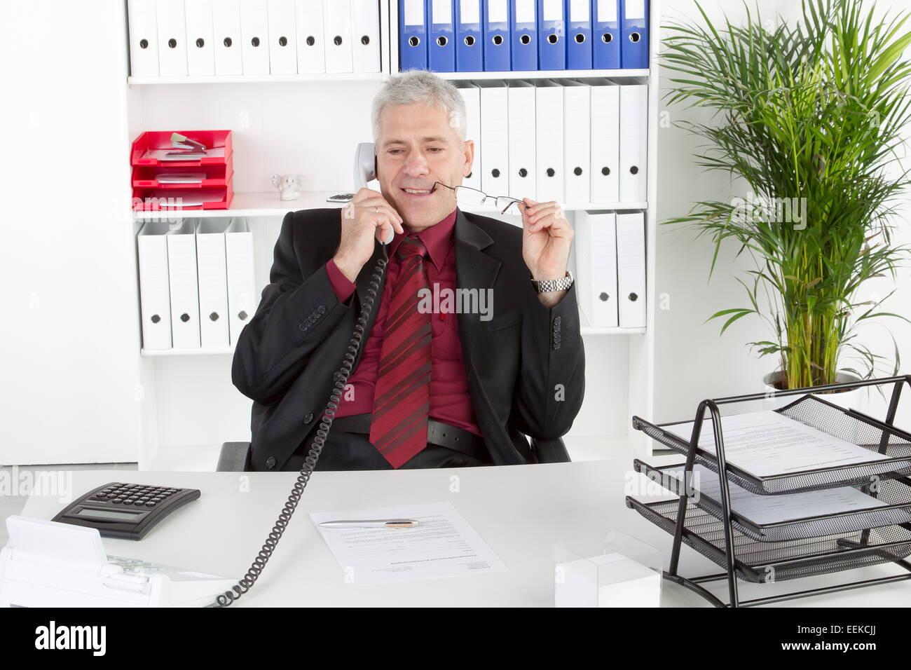 Mann mittleren Alters sitzt im Büro und telefoniert, Middle-aged man sitting in his office, telephoning - Stock Image