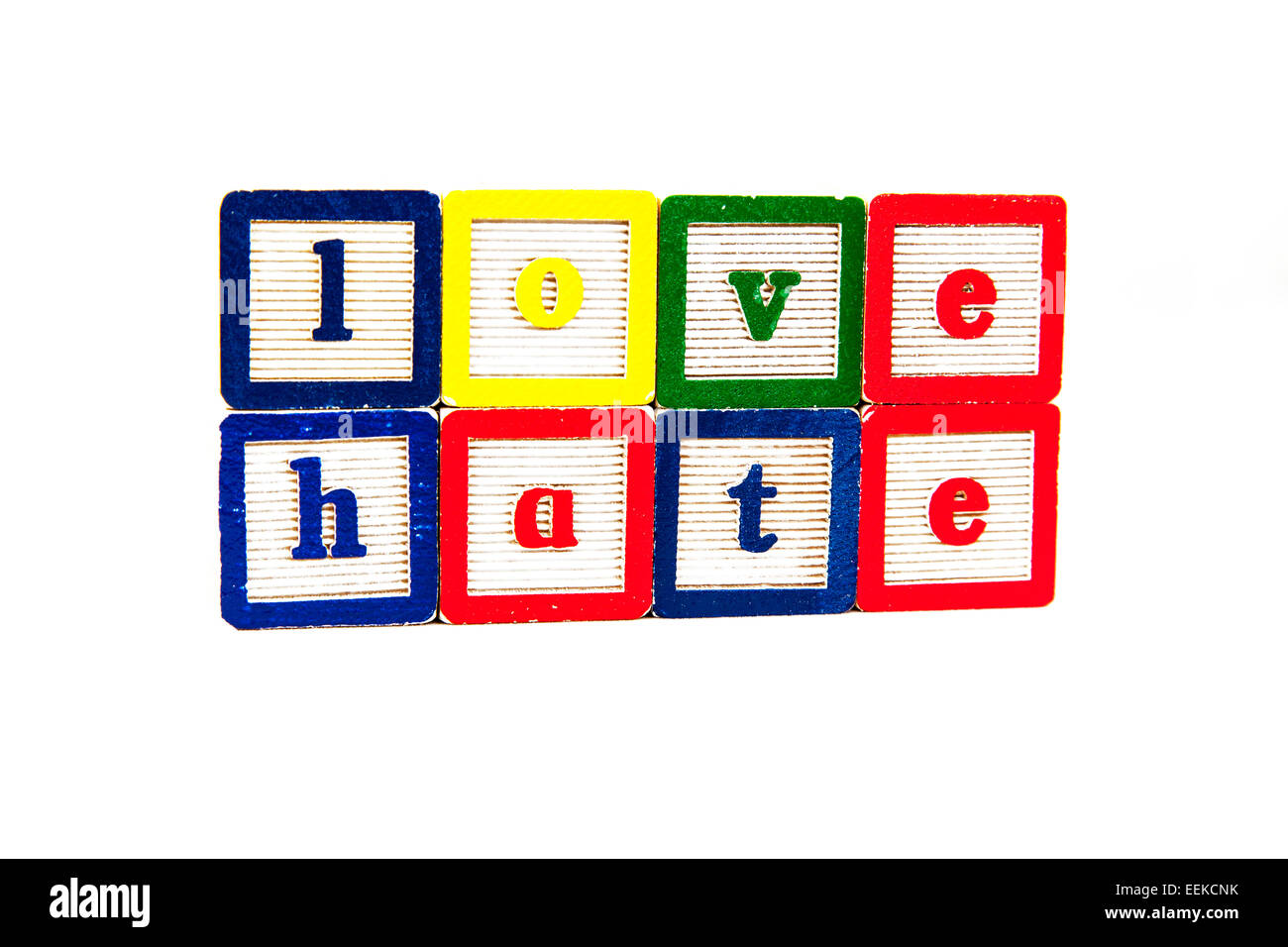 love hate emotion words emotions feelings strong feeling word blocks cut out copy space white background - Stock Image