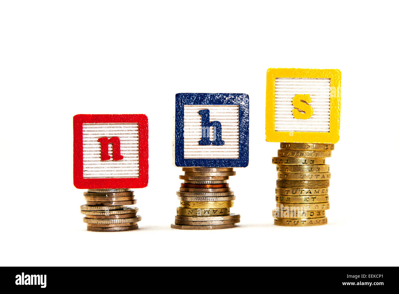 NHS rising cost costs money woes funding funds revenue income critical situation cut out copy space white background - Stock Image