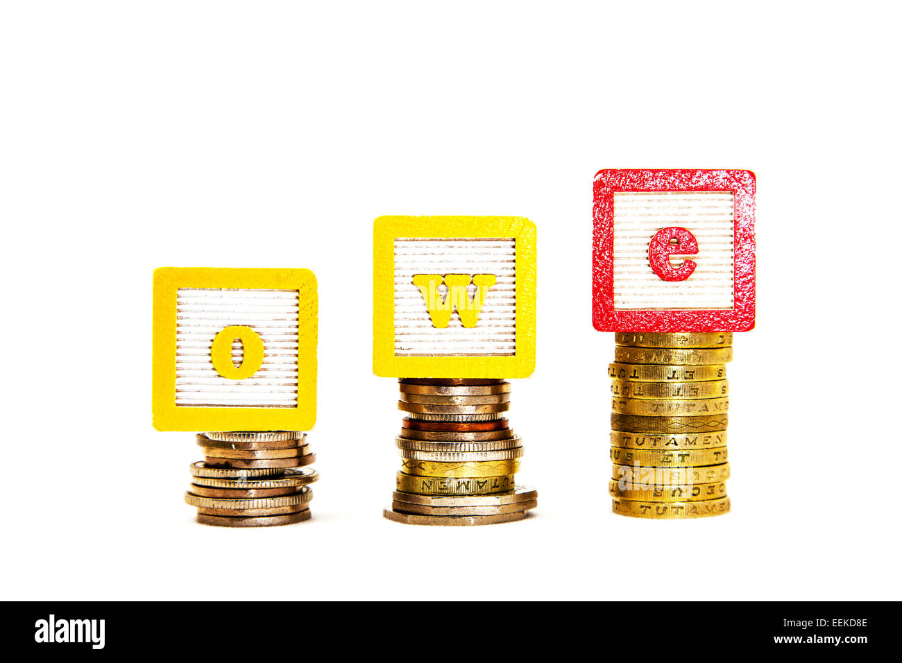 owe owing Debt rising cost costs money woes funding funds revenue income critical national  situation cut out copy - Stock Image