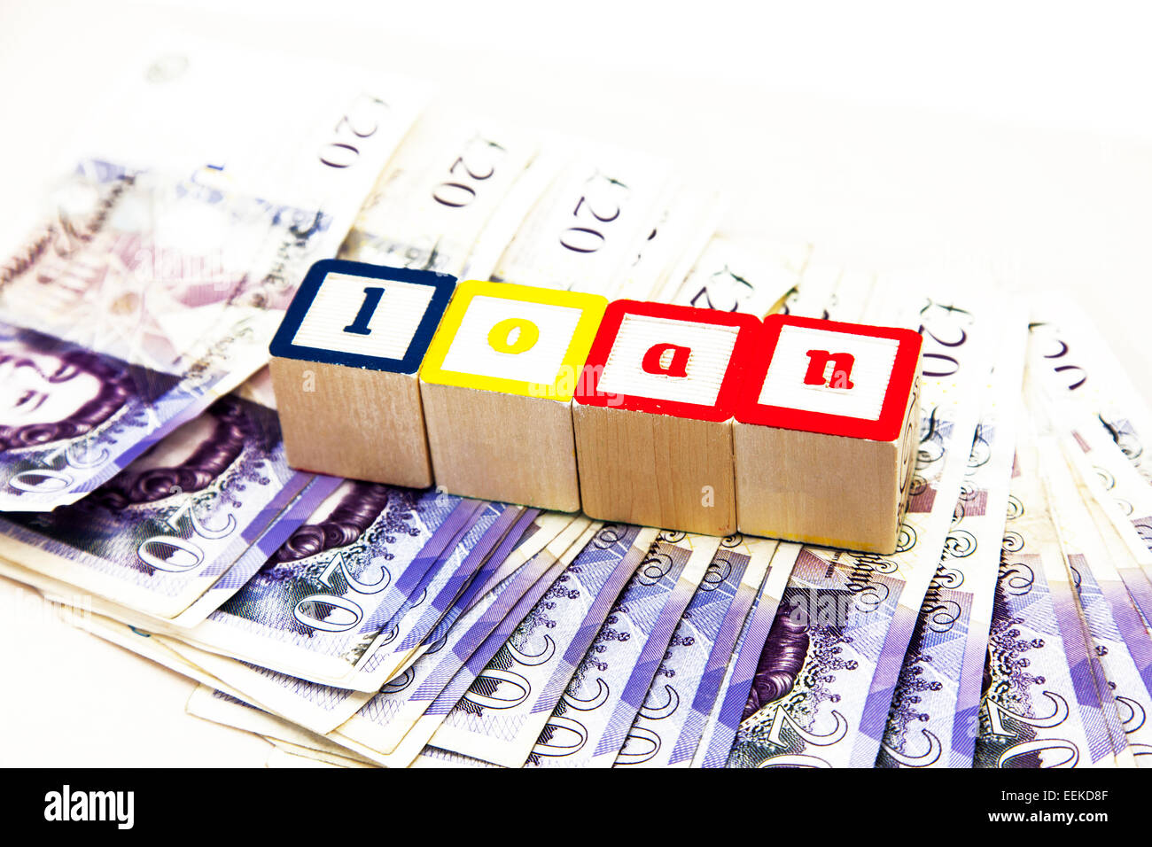Loan money shark cash debt lend loaning borrow borrowing lending interest rates cut out copy space white background - Stock Image