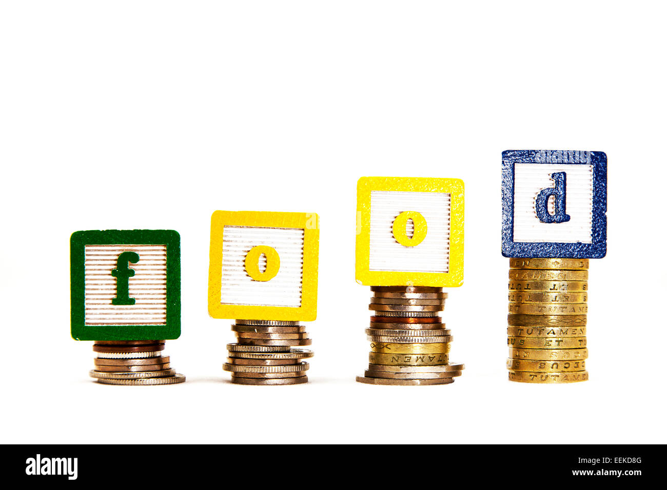 Rising food prices costing  more price rise spending feeding family word concept cut out copy space white background - Stock Image