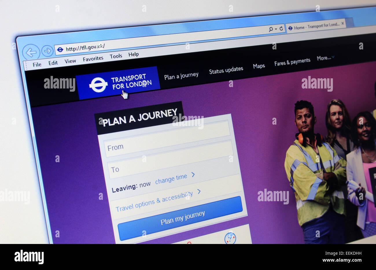 Transport for London TFL website - Stock Image
