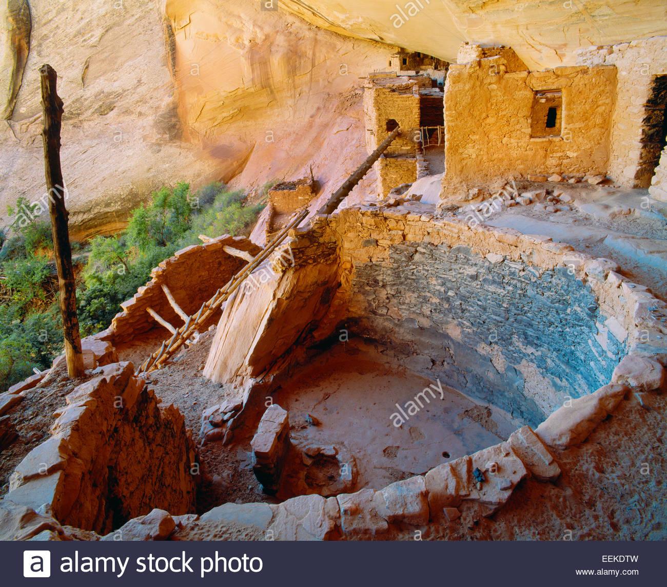 Ancient Anasazi kiva [ceremonial chamber] Navajo National Monument, Arizona. - Stock Image