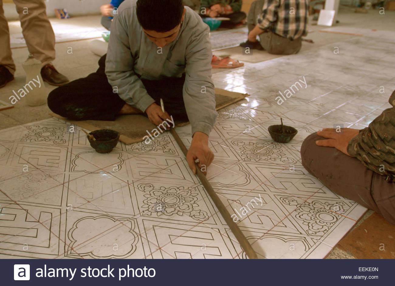 Iran, Ispahan, ceramics and crockery workshop - Stock Image