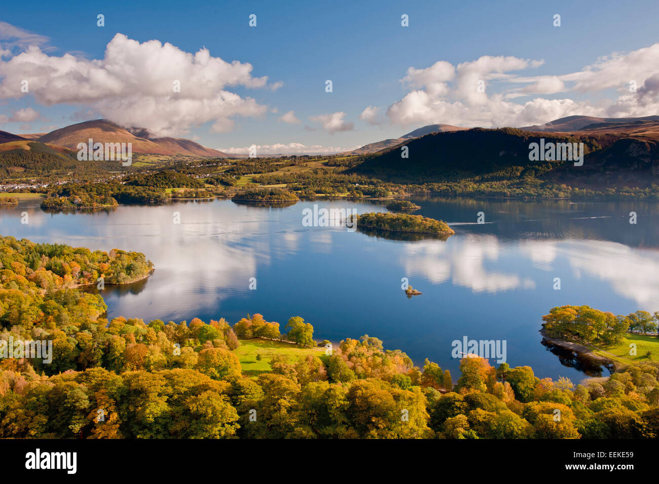 A view from Catbells over Derwentwater. - Stock Image