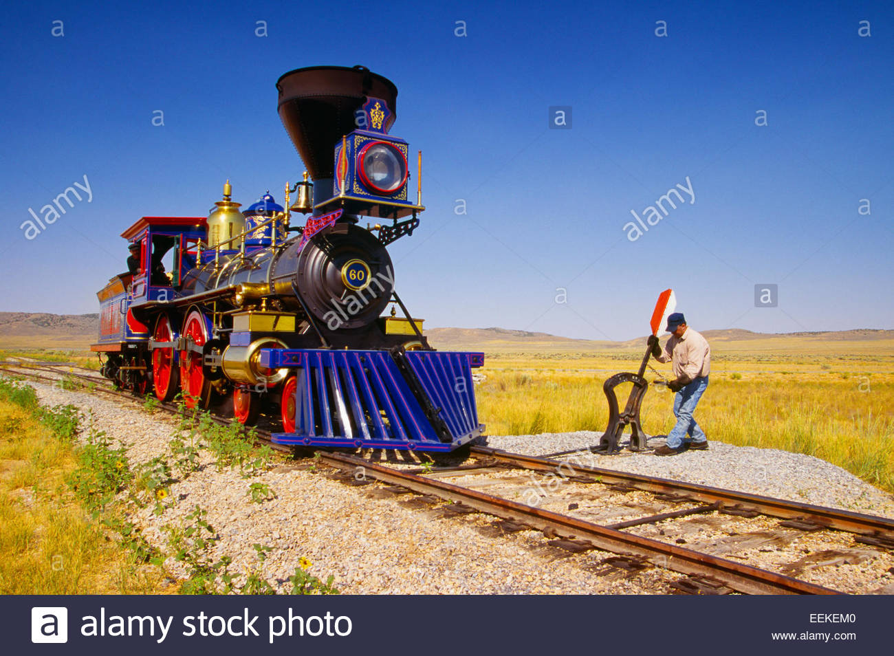 Replica locomotive, 'Jupiter' and switch.  Golden Spike National Historic Site, Utah. - Stock Image