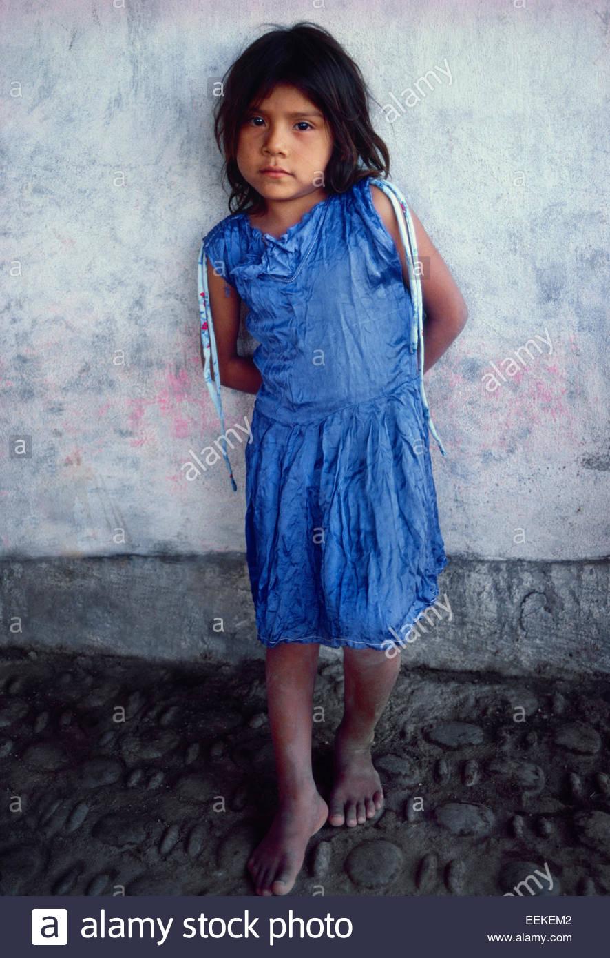 Nahua Indian girl. Maruata, Michoacan, Mexico. - Stock Image