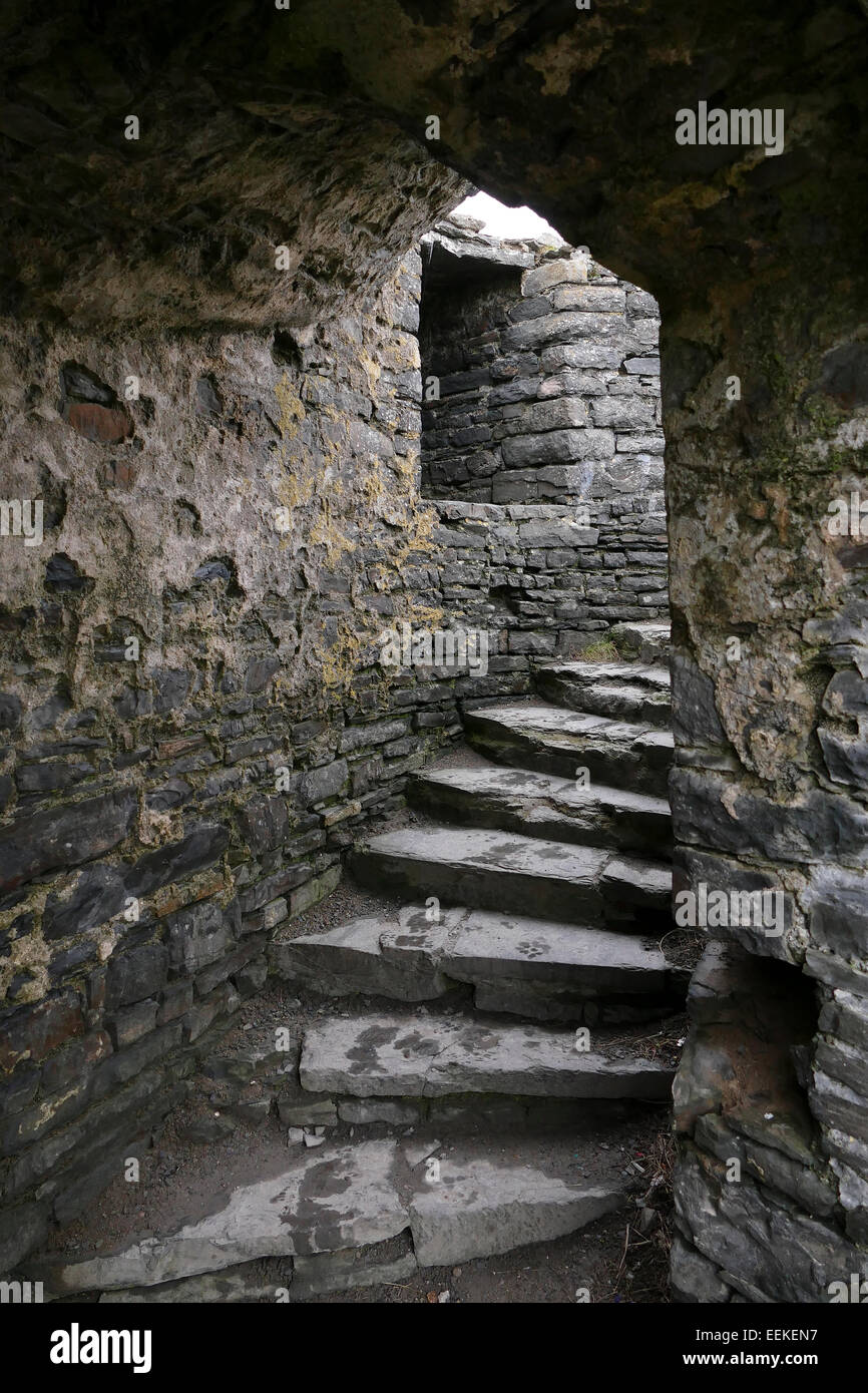 Staircase in one of the towers of the ruined castle at Aberystwyth, Ceredigion, Wales. - Stock Image