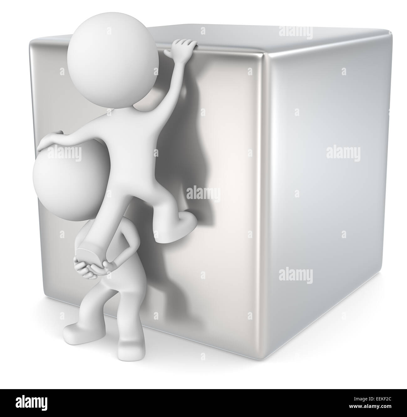The dude 3D character x2 climbing a metal cube. - Stock Image