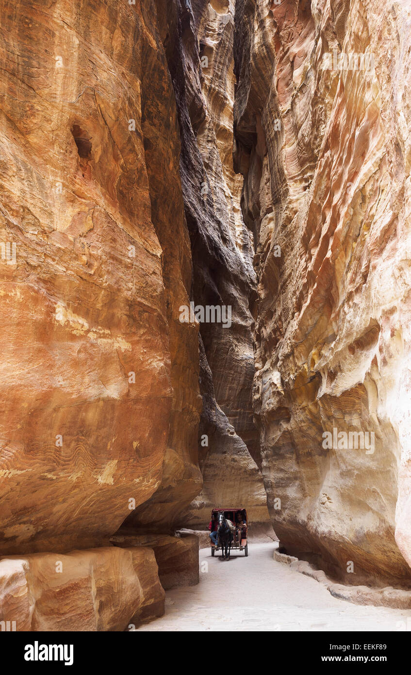 View along the Siq on the way to Petra, Jordan Stock Photo