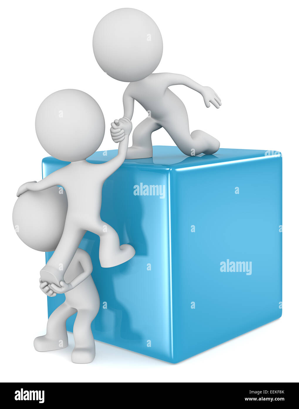 The dude 3D character x3 climbing a Blue Cube. - Stock Image