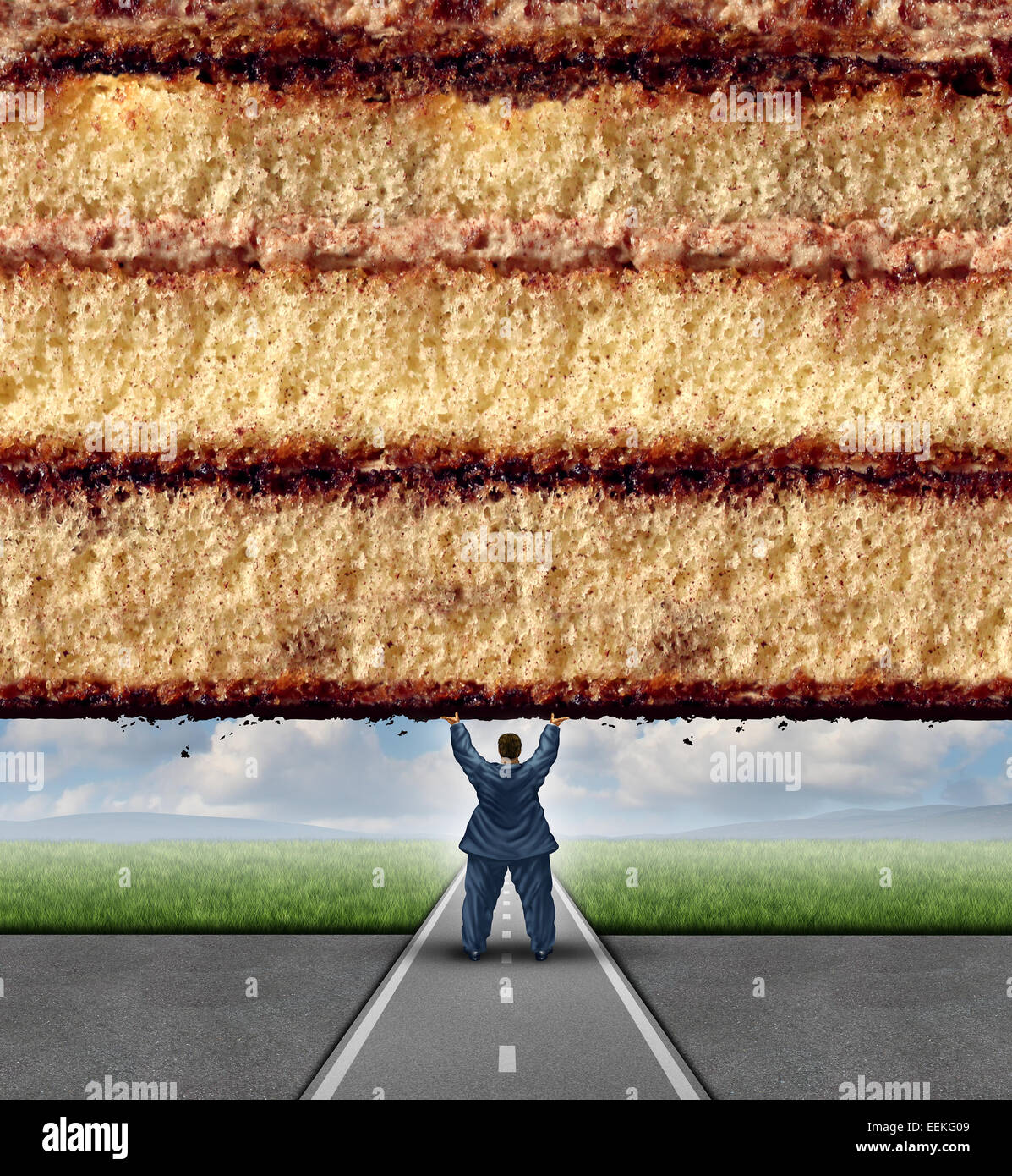 Get fit concept and losing weight fitness and health care metaphor as an overweight man lifting a wall made of cake - Stock Image