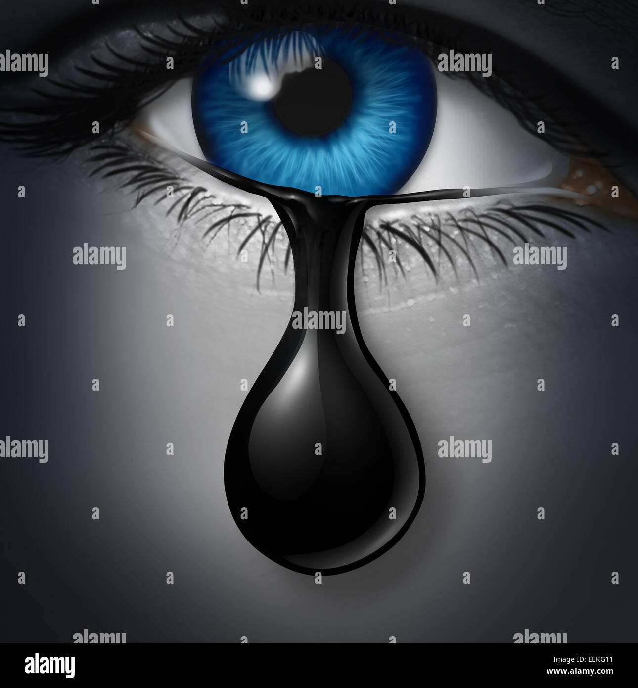 Oil industry distress concept as a human tear drop of crude petroleum spilling down on a human face as a symbol - Stock Image