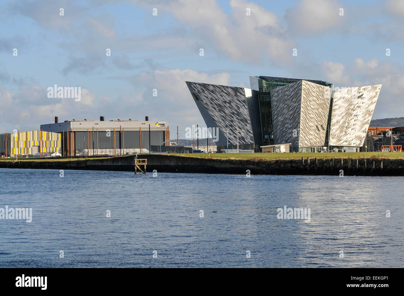 Titanic Belfast with the Titanic Film Studios behind, where Game of Thrones is filmed. Stock Photo