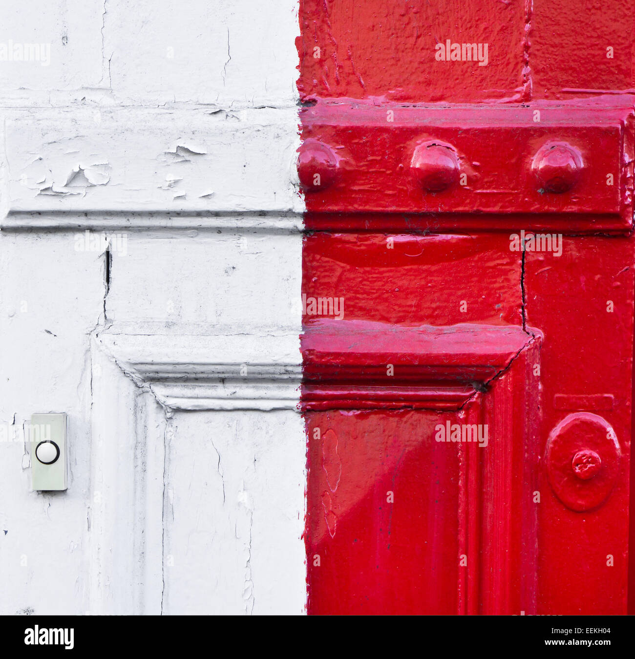 Red and white metal surfaces as a background - Stock Image