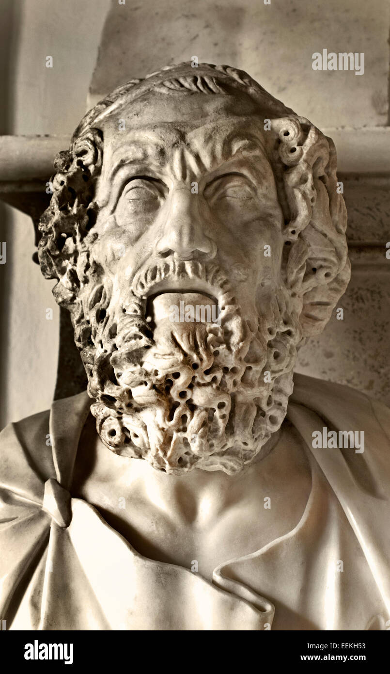 Portrait of Homer Roman Sculpture From a 200 BC Hellenistic original Marble ( Homer is best known as the author - Stock Image