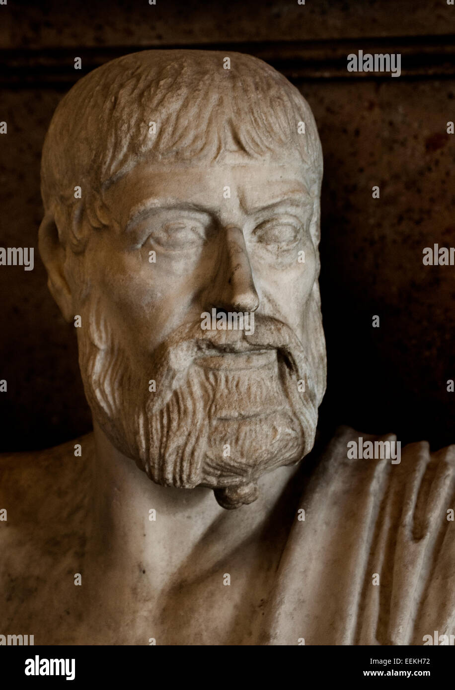 Pindaro Pindar Pindaros 522 –  443 BC  was an Ancient Greek lyric poet from Thebes. Roman Rome Capitoline Museum - Stock Image