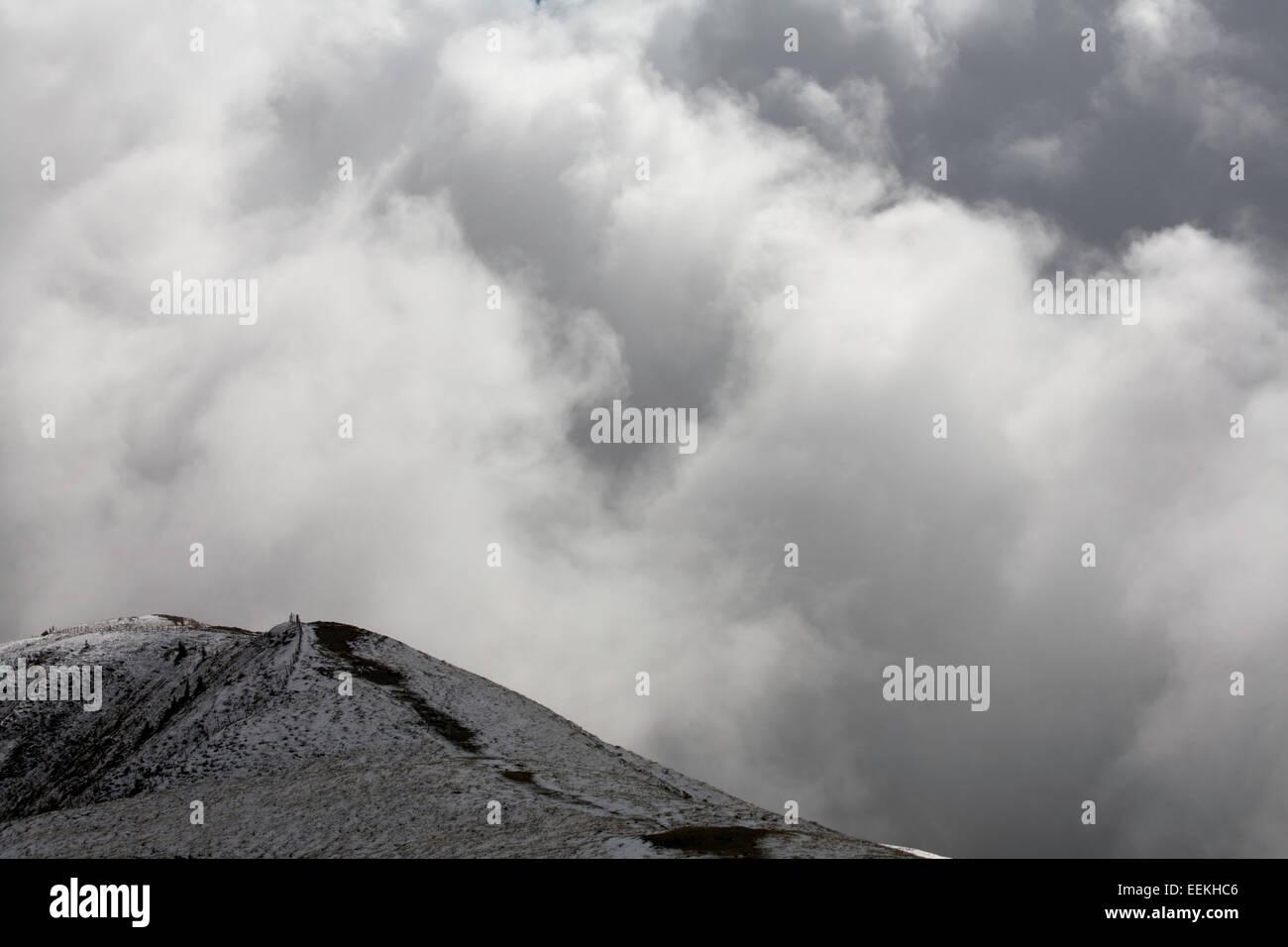 Cloud and snow The Maurerkogel from The Schmittenhohe above Zell am See Pinzgau Salzbergerland Austria Stock Photo