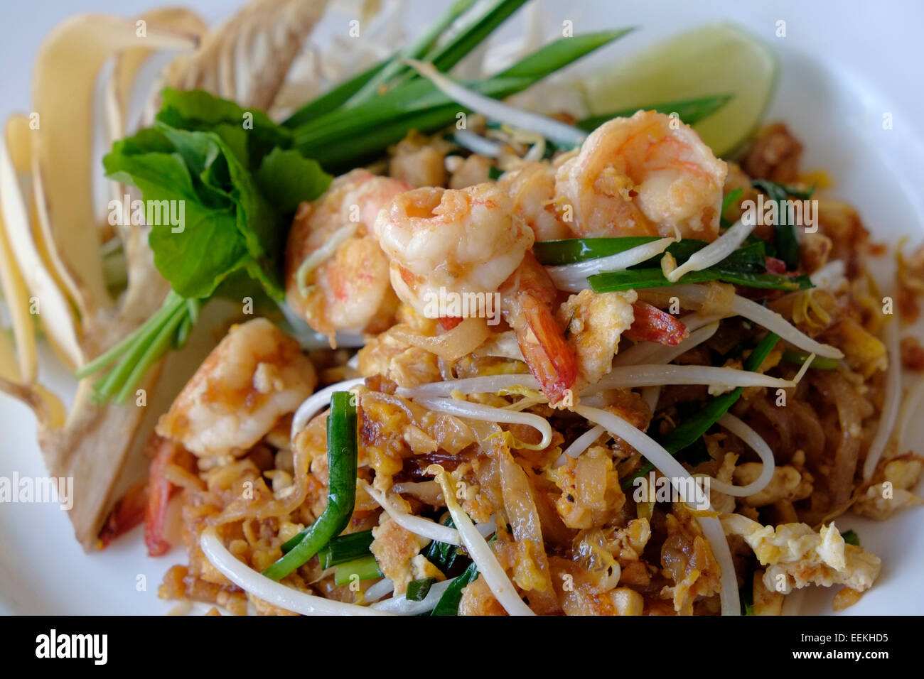 A Traditional Dish Of Pad Thai Stir Fried Rice Noodles With Prawns