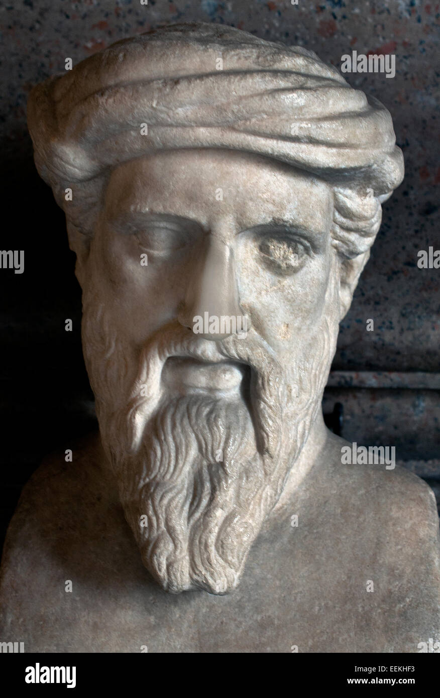 "Herm Hermes depicting ""Pythagoras"" Roman Sculpture From a Greek original of the middle of the 5th century BC Marble - Stock Image"