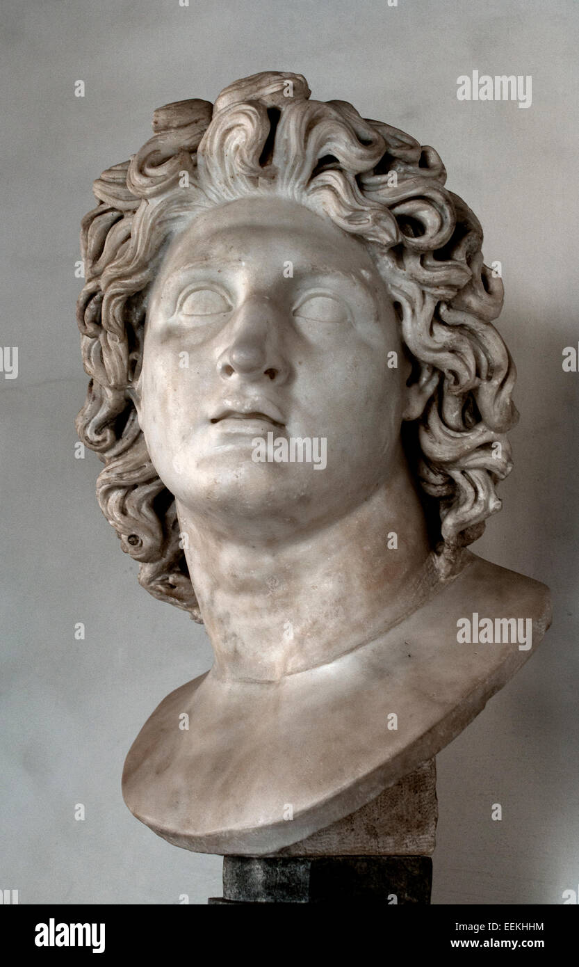 Alexander the Great as Helios. Marble, Roman copy after an Hellenistic original from 3rd–2nd century BC   Rome Capitoline - Stock Image
