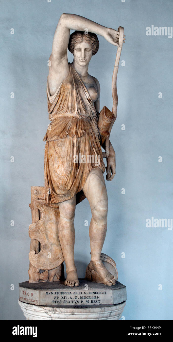 Statue of Wounded Amazon ( Amazons female warriors in Greek mythology ) Sculpture Roman From an original by Phidias. Stock Photo