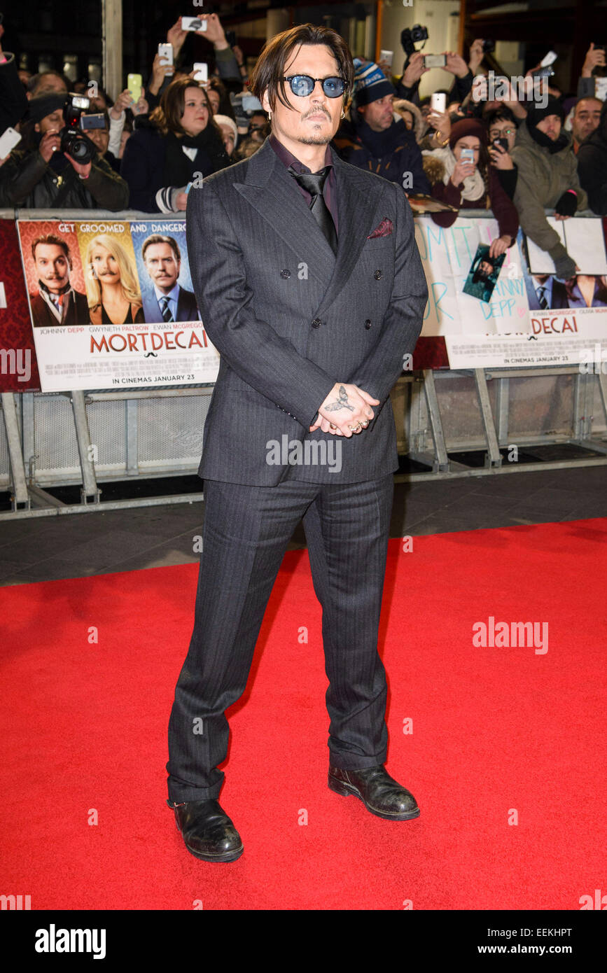 Johnny Depp attends the UK Premiere of MORTDECAI on 19/01/2015 at The Empire Leicester Square, London.  Picture - Stock Image