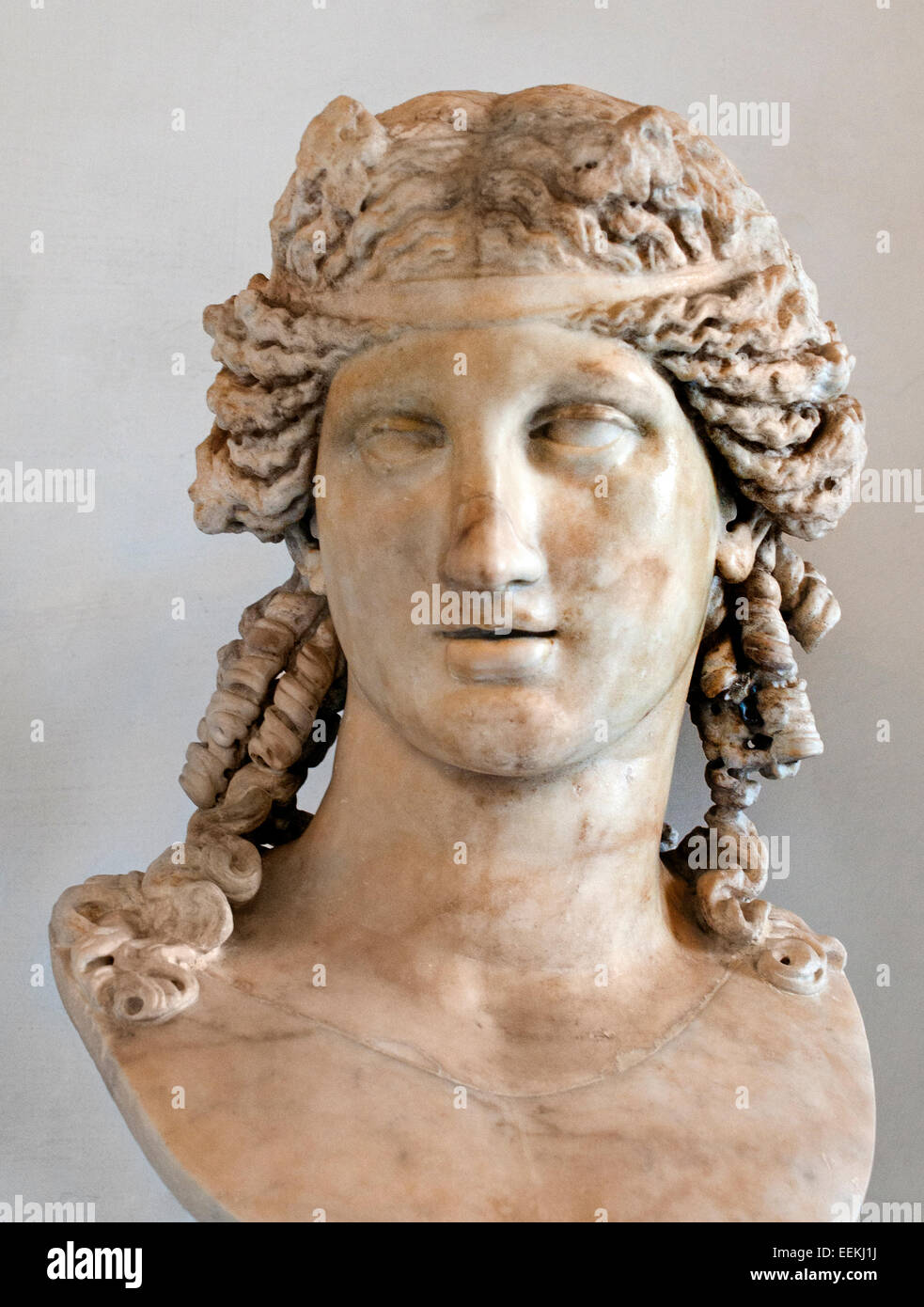 Dionysus, the second century AD by orig. Hellenistic, from the Vatican.  Rome Capitoline Museum Italy Italian - Stock Image