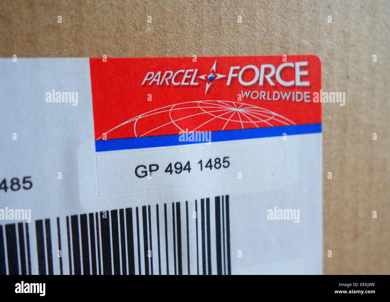 A Parcel Force bar code on package - Stock Image