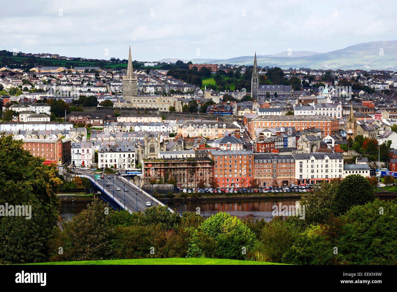 derry londonderry city center landscape view northern ireland - Stock Image
