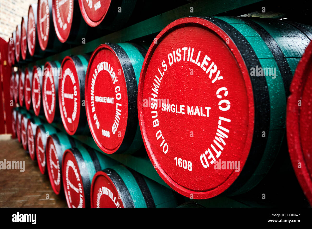 single malt whiskey barrels of old bushmills distillery northern ireland - Stock Image