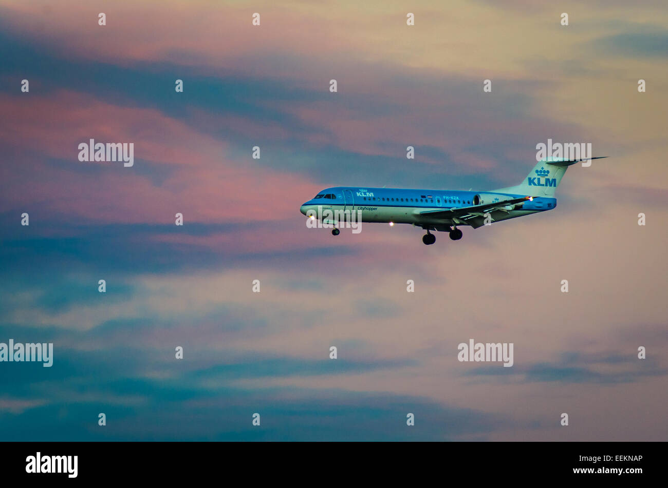 A KLM royal dutch airlines Koninklijke Luchtvaart Maatschappij coming in to land at Cardiff Airport - Stock Image