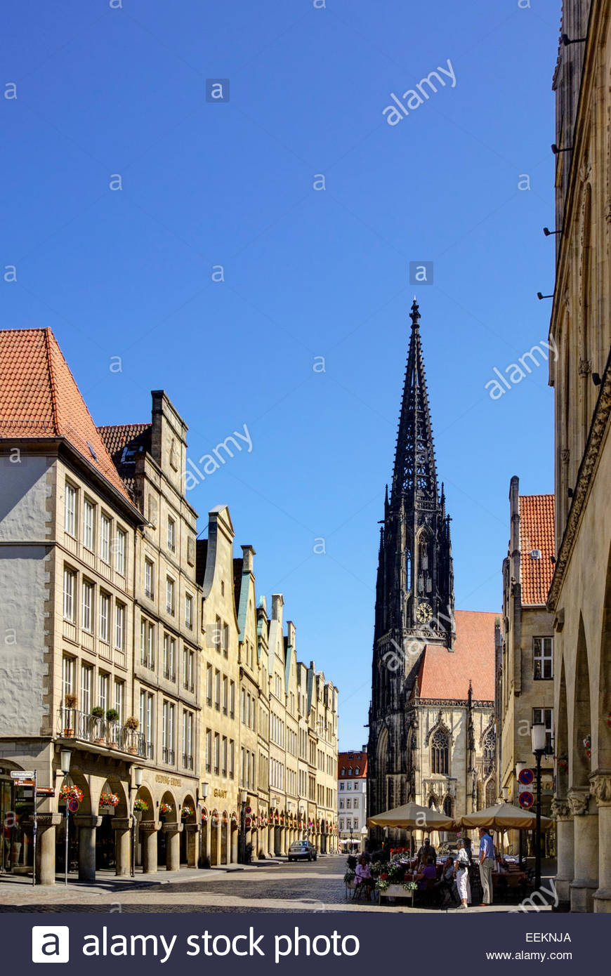 Sankt Lambertikirche stands at the end of Prinzipalmarkt in the old town section of Münster / Muenster, NRW, - Stock Image