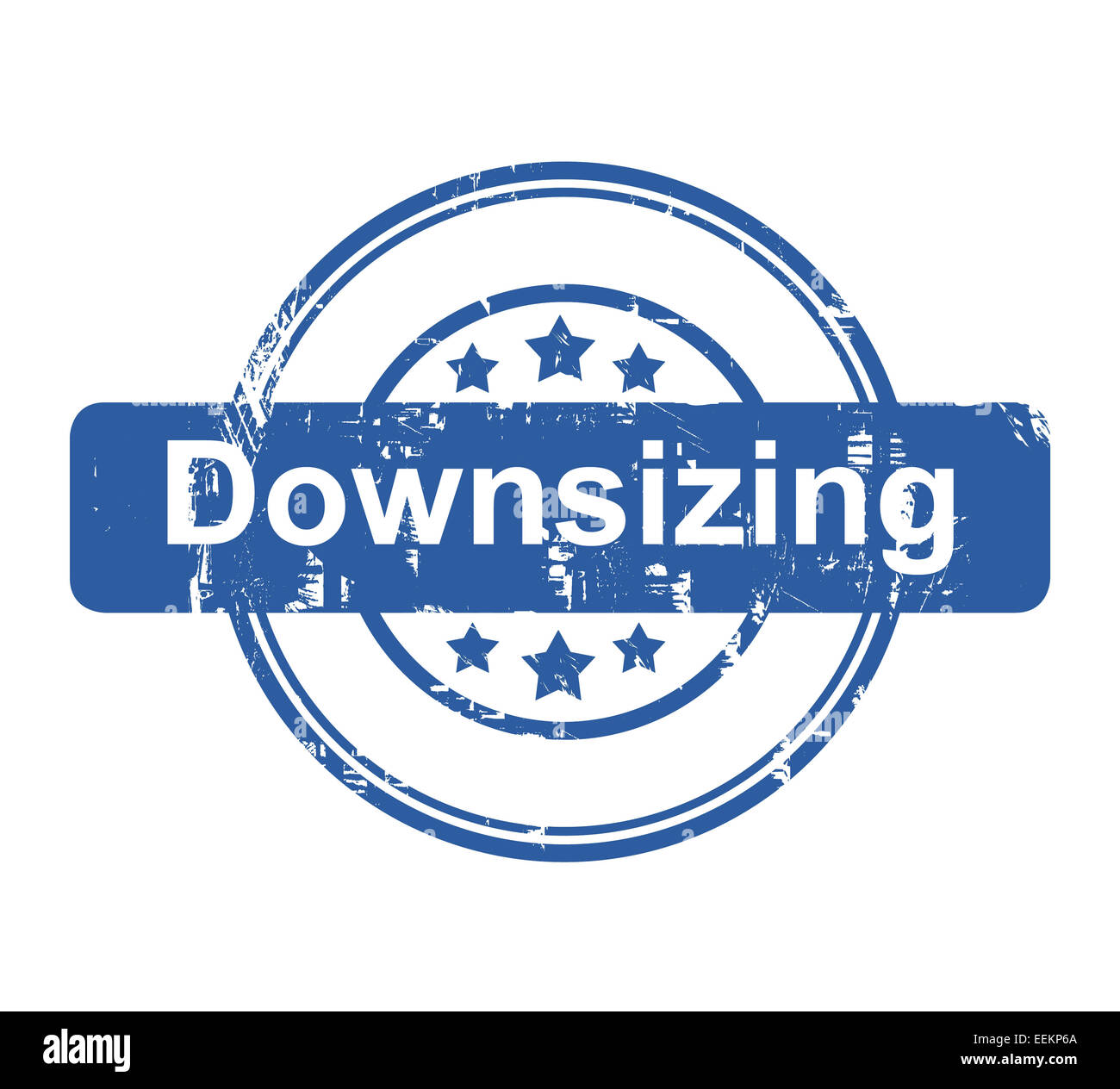 Downsizing business concept stamp with stars isolated on a white background. - Stock Image
