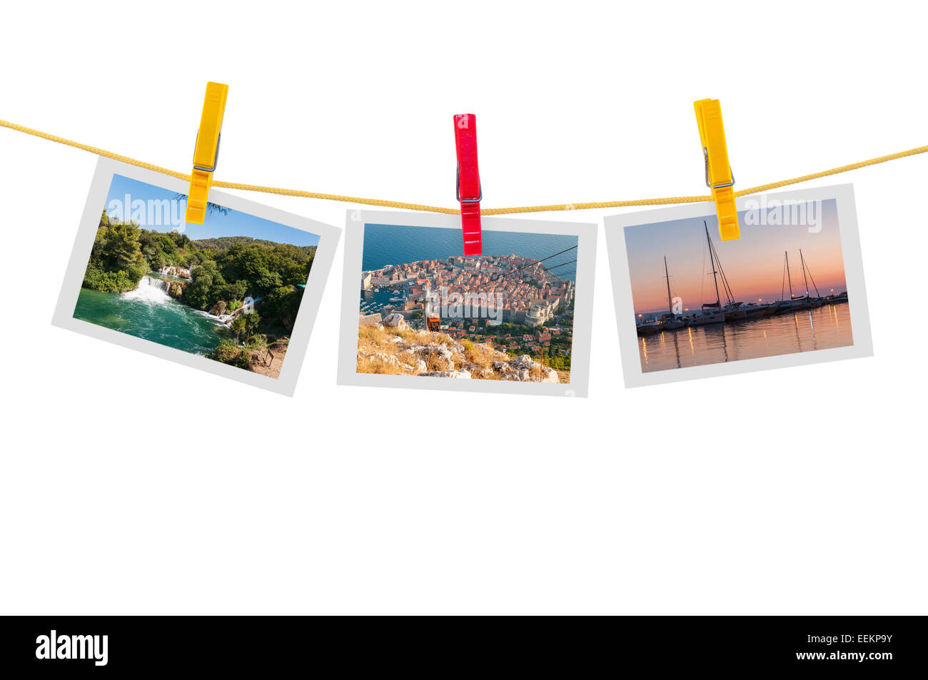 Three photos of Croatia on clothesline isolated on white background with clipping path - Stock Image