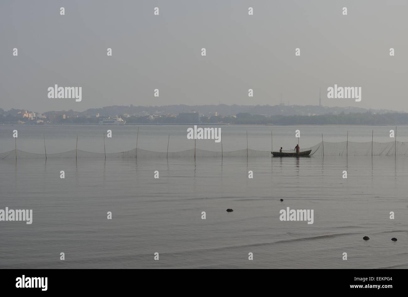 Fisher boat in Goa, India - Stock Image