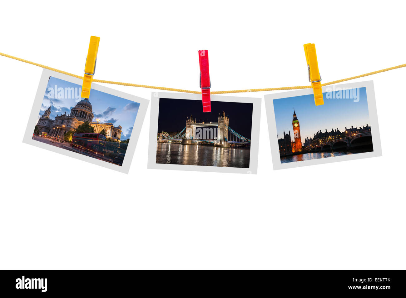 Three photos of London on clothesline isolated on white background with clipping path - Stock Image