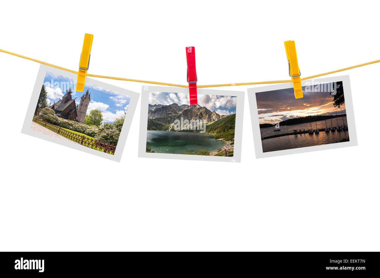 Three photos of Poland on clothesline isolated on white background with clipping path - Stock Image