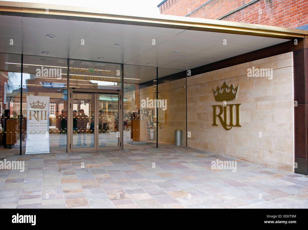 The entrance of The King Richard III Visitor Centre in Leicester City. Dynasty, Death and Discovery. - Stock Image