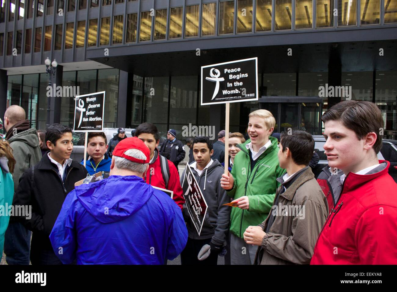 Male anti-abortion protesters. Chicago, Illinois. - Stock Image