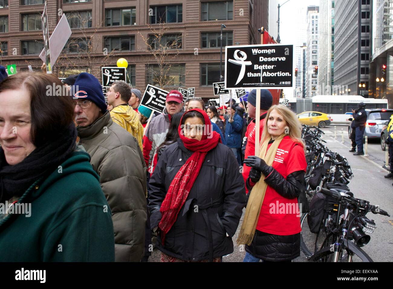 Anti-abortion protesters. Chicago, Illinois. - Stock Image