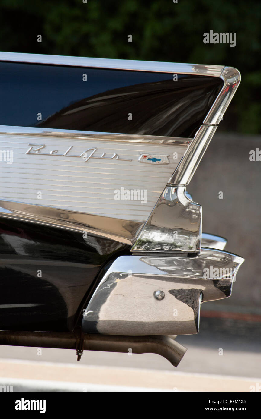 Detail view of a vintage Chevy Bel Air motorcar - Stock Image