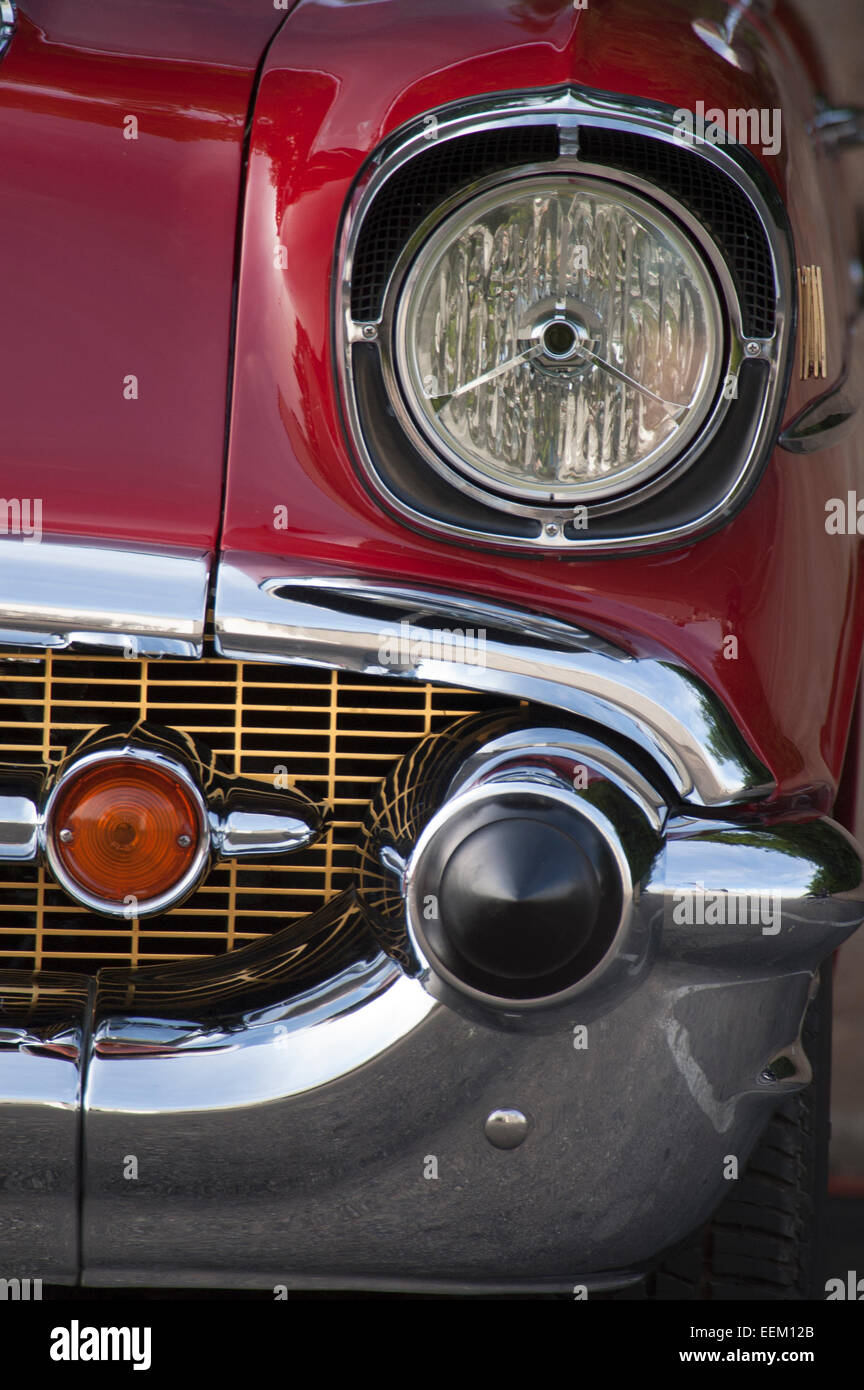 Detail of a classic 1950's model red Chevrolet motorcar - Stock Image