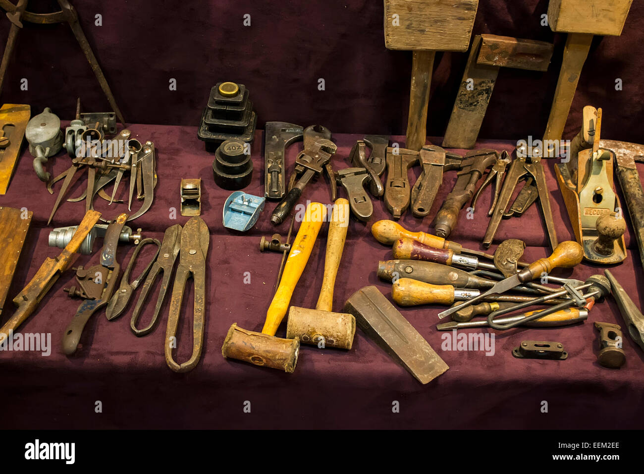 Various old tools for woodworking used by craftsmen - Stock Image