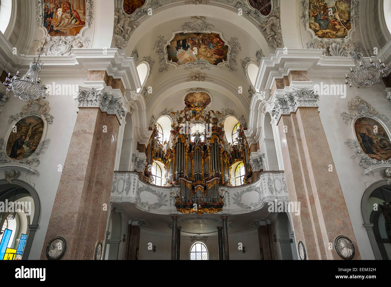 Organ loft, parish church of St. Mang, Füssen, Bavaria, Germany - Stock Image