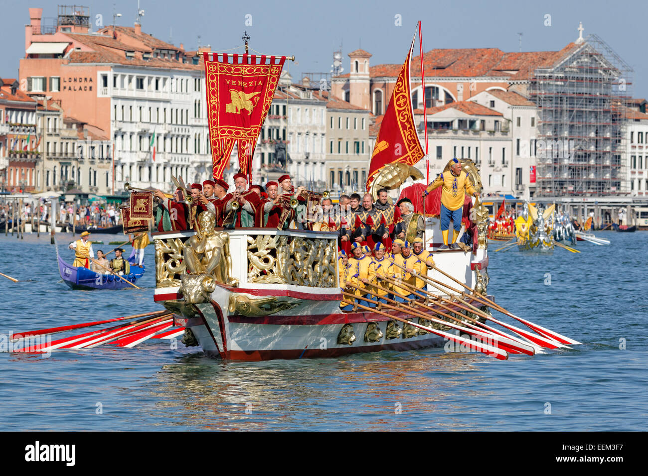 Regata Storica, historical regatta, on the Canal Grande, Venice, Veneto, Italy - Stock Image