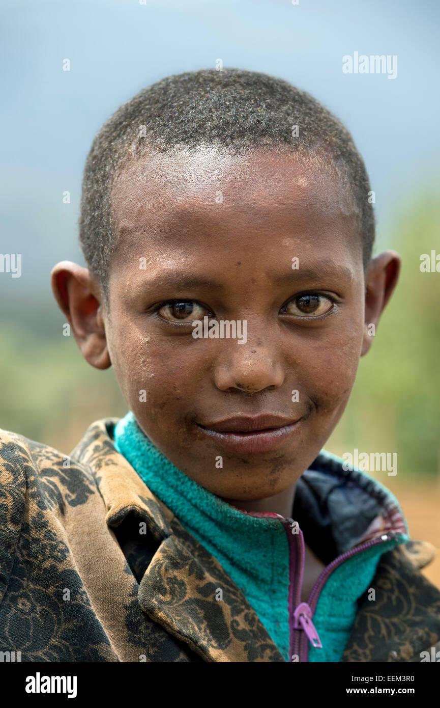 Portrait of an Oromo boy, Oromiya, Ethiopia - Stock Image