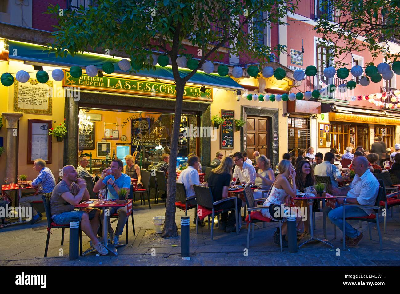 Restaurant In The Old Town Seville Andalucia Spain Stock