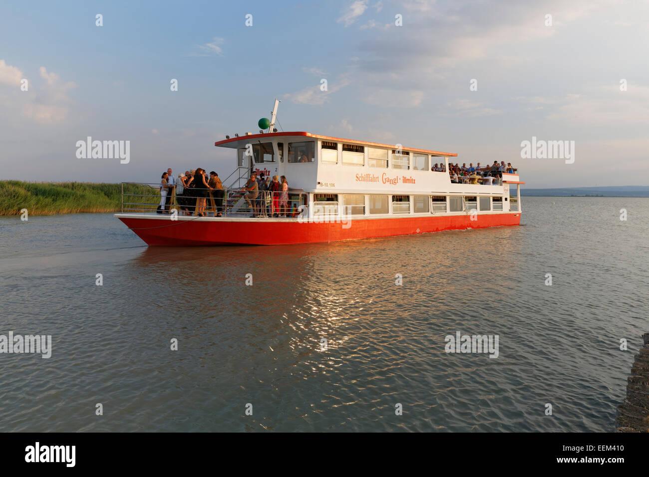 Passenger ship on Lake Neusiedl, Illmitz, Northern Burgenland, Burgenland, Austria - Stock Image